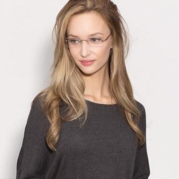 Golden/Brown Rivet -  Lightweight Metal Eyeglasses - model image