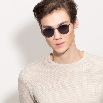 Matte Navy Siena -  Acetate Sunglasses - model image