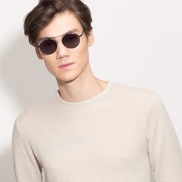 Black/Silver Hendrix -  Metal Sunglasses - model image