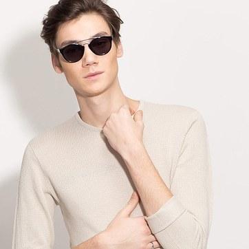 Black Enzo -  Acetate Sunglasses - model image