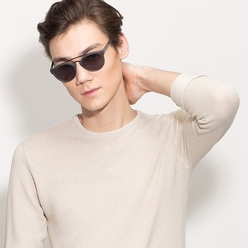 Matte Gray Enzo -  Acetate Sunglasses - model image