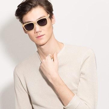 Yellow Malibu -  Wood Texture Sunglasses - model image