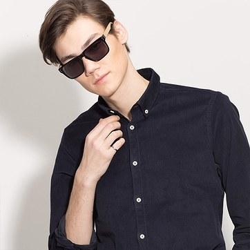 Black Yellow Sergi -  Acetate Sunglasses - model image