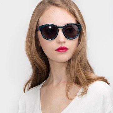 Blue Floral  Rome -  Acetate Sunglasses - model image