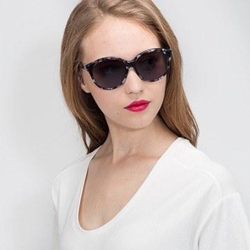 Gray Floral Stella -  Acetate Sunglasses - model image