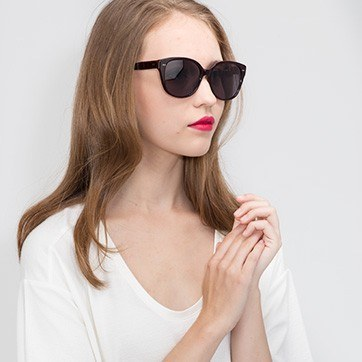 Dark Red  Lune Noire -  Acetate Sunglasses - model image