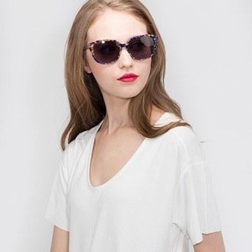 Purple Floral  Lune Noire -  Acetate Sunglasses - model image