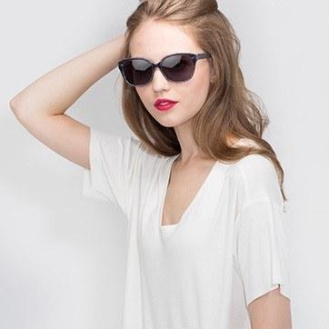 Gray Striped  Lune Noire -  Acetate Sunglasses - model image