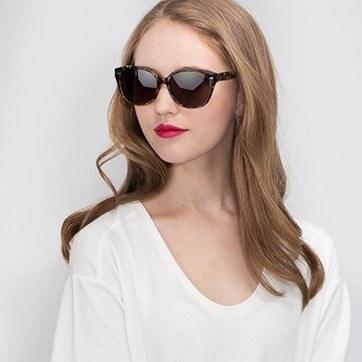 Brown Floral  Lune Noire -  Acetate Sunglasses - model image