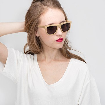 Yellow Virtual -  Acetate Sunglasses - model image