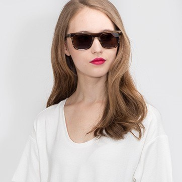 Brown Strip Virtual -  Acetate Sunglasses - model image