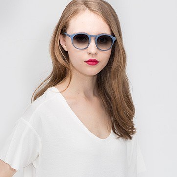 Blue Air -  Wood Texture Sunglasses - model image