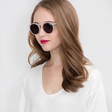 Matte White Air -  Acetate Sunglasses - model image