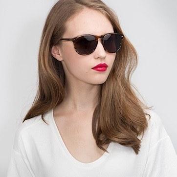 Brown Striped  Deep End -  Acetate Sunglasses - model image