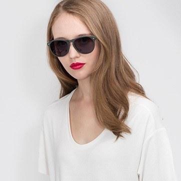 Matte Green  Deep End -  Acetate Sunglasses - model image