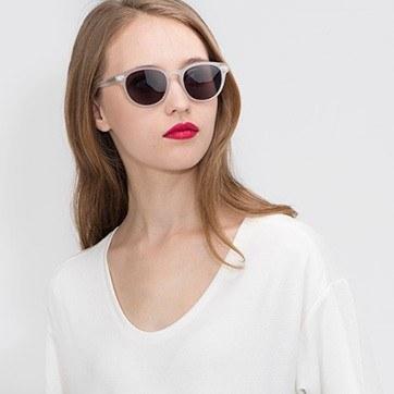 Matte White Till Dawn -  Acetate Sunglasses - model image