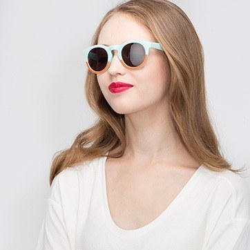 Light Blue  Sunset -  Plastic Sunglasses - model image