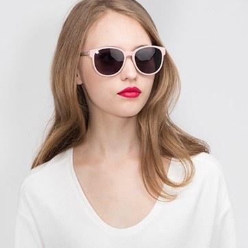 Matte Pink Terracotta -  Plastic Sunglasses - model image