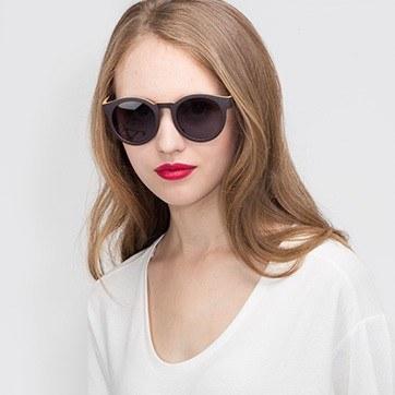 Matte Coffee Oasis -  Plastic Sunglasses - model image