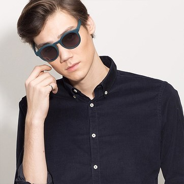 Matte Blue Oasis -  Plastic Sunglasses - model image