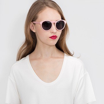 Matte Pink Taylor -  Plastic Sunglasses - model image