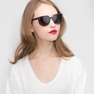 Green Blue Dundee -  Plastic Sunglasses - model image