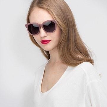 Matte Brown Elena -  Plastic Sunglasses - model image