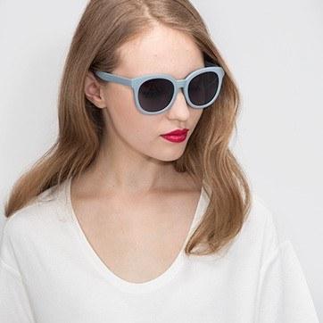 Matte Blue Elena -  Plastic Sunglasses - model image