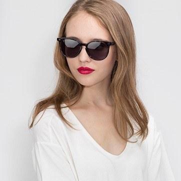Blue Floral Meraki -  Acetate Sunglasses - model image