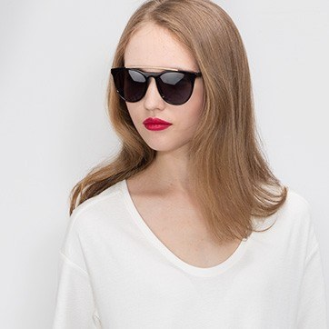 Black Miami Vice -  Acetate Sunglasses - model image