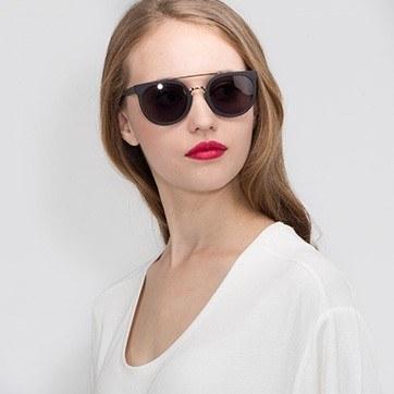 Black/Golden Bali -  Acetate Sunglasses - model image