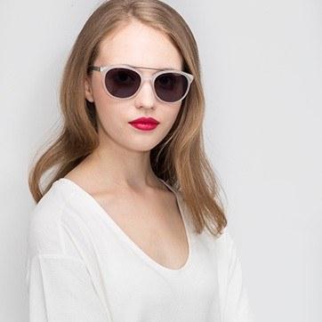 Matte White Morning Breeze -  Acetate Sunglasses - model image