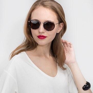 Blue Floral  Sun Tea -  Acetate Sunglasses - model image