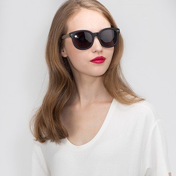 Matte Black Till Sunset -  Acetate Sunglasses - model image