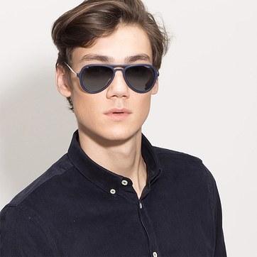 Matte Blue  Riot -  Acetate Sunglasses - model image
