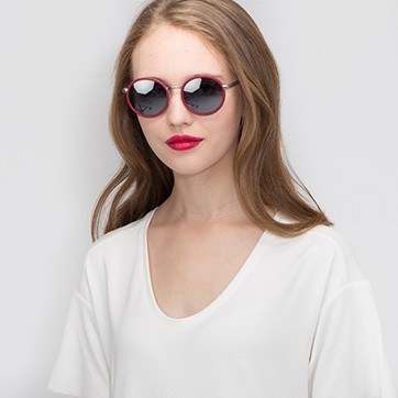 Matte Red Lady Bird -  Acetate Sunglasses - model image