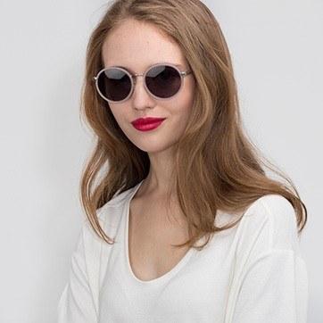 Matte Pink Lady Bird -  Acetate Sunglasses - model image
