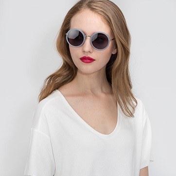 Light Blue Well -  Acetate Sunglasses - model image
