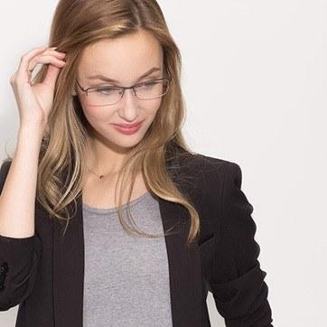 Gunmetal Hatch -  Lightweight Titanium Eyeglasses - model image