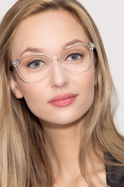 Hepburn Clear/White Women Acetate Eyeglasses ...